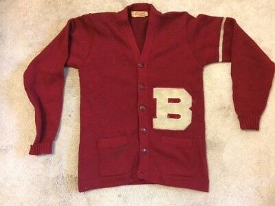 Vintage 1940s Men's Red Wool Varsity Letterman Sweater Size 40