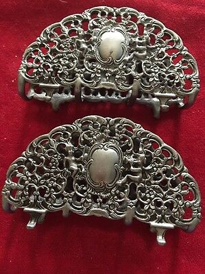 Set Of 2 German Solid Continental Silver 835 Napkin Holders Vintage Cherubs