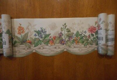 3 PK 15 Yds Longaberger Botanical Fields Wallpaper Border Scalloped Edge Flowers