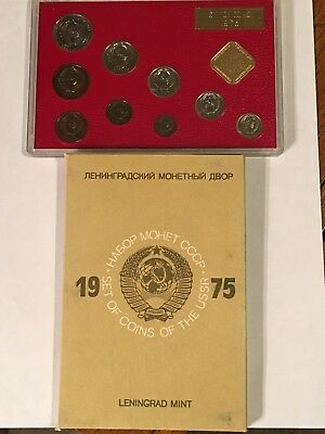 1975 Set Of Coins Of The Ussr - 9 Bu/ms Coins - Original Mint Packaging - Rare
