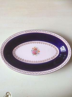 Vintage Crown Ducal Blue & Floral Oval Biscuit Tray