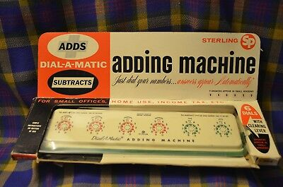 Vintage 1960s STERLING Dial-A-Matic Adding Machine in Original Box-No#568