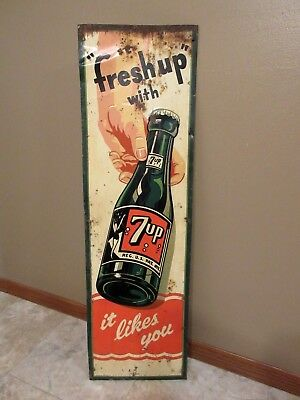 """Vtg 1951  """"Freshup"""" With 7up Soda Pop - Embossed Metal Sign - 42""""- VERY RARE!"""