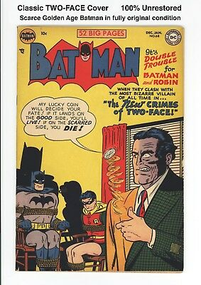BATMAN #68 - UNRESTORED BEAUTIFUL HIGH GRADE F/VF 7.0 to 7.5 - TWO-FACE! 1951