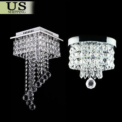 Modern Elegant Crystal Pendant Light Fixture LED Ceiling Hanging Lamp Chandelier