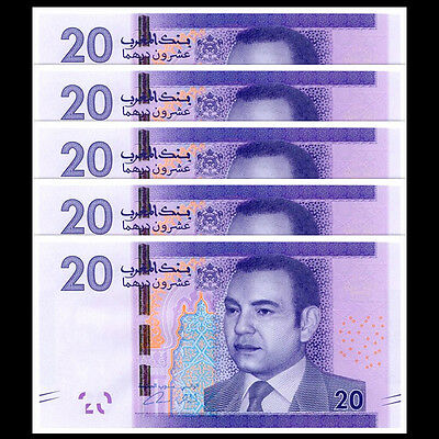 Lot 5 PCS, Morocco 20 Dirhams, 2012, P-74, Banknote, UNC