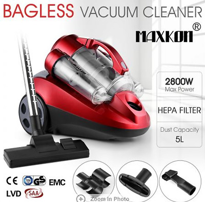 Maxkon Bagless Multi-Cyclonic Vacuum Cleaner 2800W HEPA Filtration System Red