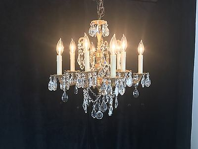 #15.  Rare Antique French Style 10 Arm, 10 Light Brass Chandelier