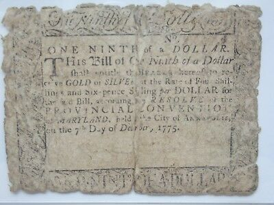 Colonial Currency Maryland 1775, $1/9, PCGS Very Good 10
