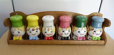 Retro Kitch Set Of Japanese Pepper Salt & Spice Shakers With Original Stand