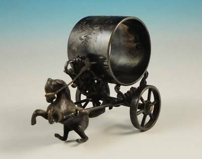 Antique Meriden Silverplate Figural Napkin Ring Holder Rearing Horse Cart Wheels