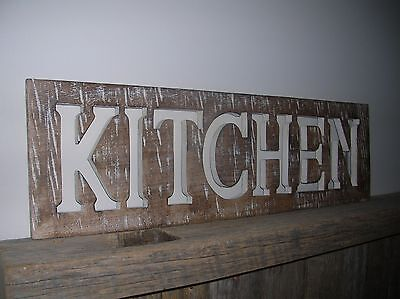 Carved Mango Wood Kitchen Distressed White Wall Sign Plaque