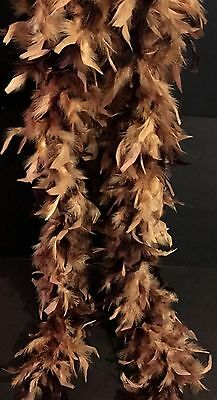 "Feather Boa Leopard Color Brown Gold Pageant Costume Formal Drag Decor 72"" NEW"