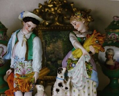 Superb Large Pair Paris Porcelain French Bisque Figurines Early 1800s Vion Baury