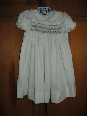Toddler Girl's Smocked Dress Size 2-3T Light Green with Ecru Lace Puffed Sleeves