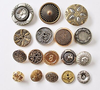 17 Victorian Vintage Antique & Recent Metal Buttons with Pictures & Patterns
