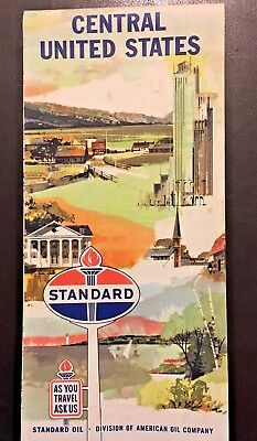 Vintage Standard Oil Company Central United States Road map. early 1960's