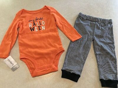 NWT Carter's My First Halloween 2 Piece Outfit Pants Romper Boy Girl 18 Months