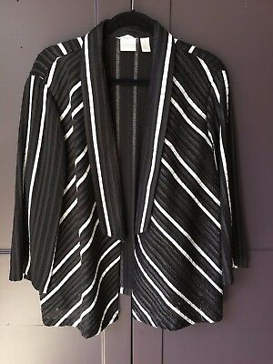 Chico's Collection Size 3 Black White Striped Women's Jacket