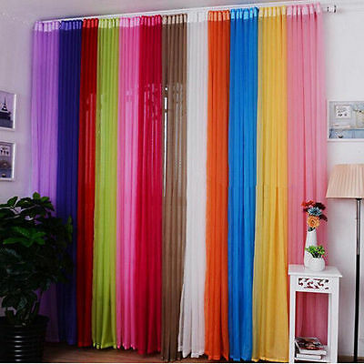 2Pcs Valances Tulle Voile Door Window Curtain Drape Panel Sheer Scarf Divider BX