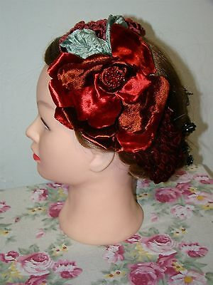Victorian Trading Co Louise Green Ruddy Red Rose Headband Fascinator
