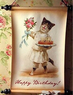 Victorian Trading Co Vintage Style Cat Birthday Cake Happy Birthday Party Banner