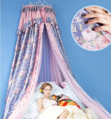 Double Size Purple Ceiling Mosquito Net Bedding Bed Curtain Netting Canopy