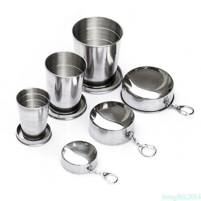 Mini Silver Stainless Steel Portable Travel Folding Cup Outdoor Camping Hinking