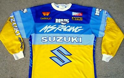 Vintage 80's MALCOLM SMITH MS RACING SUZUKI MOTOCROSS JERSEY Guy Cooper