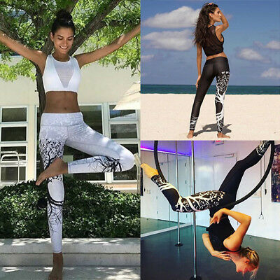 Women High Waist Yoga Fitness Leggings Running Gym Stretchy Sport Pants Trousers