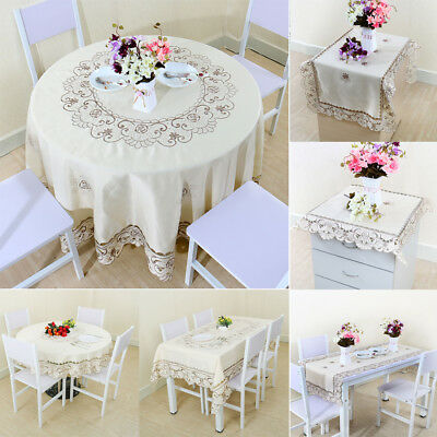 Embroidered Tablecloth Table Cover Wedding Banquet Dining Room Decor Doily Pad