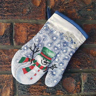 BRAND NEW Christmas Oven Mitt / Glove ~ Snowman with Green Tophat
