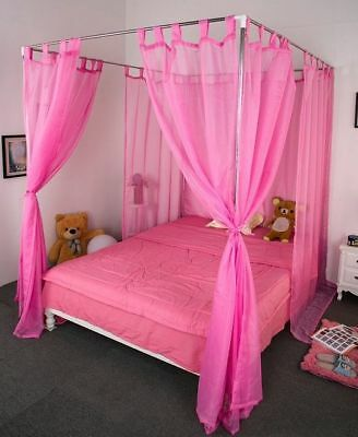 King Pink Yarn Mosquito Net Bedding Four-Post Bed Canopy Curtain Netting