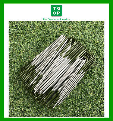 100 Piece U Shape Green Tip Artificial Synthetic Fake Grass Turf Lawn Pins Pegs