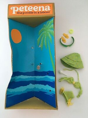 vintage peteena doll box and stock outfit - bikini, hat, glasses, spare tail etc