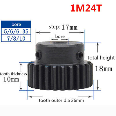 1Mod 24T Spur Gears 45# Steel Pinion Gear Bore 5/6/6.35/7MM With Fixing Screw