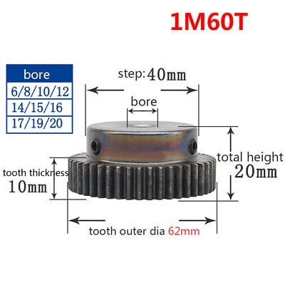 1 Mod 60T Spur Gear Pinion Gear 45# Steel Bore 6/8/10MM With Fixing Screws