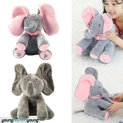 Peek-a-boo Baby Elephant Plush Toy Stuffed Pink Animated Kids Singing Soft Toy