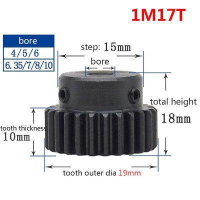 1 Mod 17T 45# Steel Pinion Gear Spur Gear Bore 4/5/6/6.35/8/10MM With Grub Screw