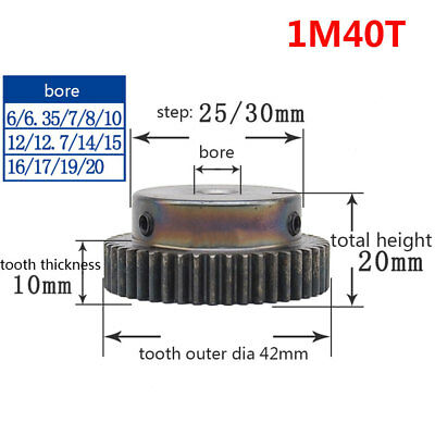 1 Mod 40T Spur Pinion Gear 45# Steel Motor Gears Bore 6/6.35/8/10/12/15MM