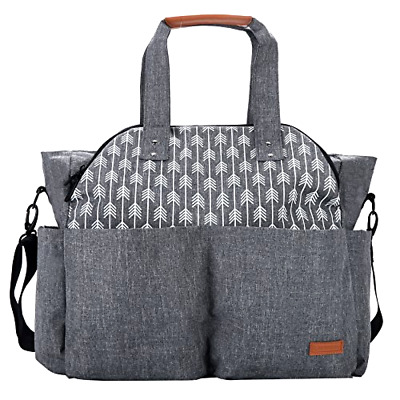 Diaper Bag Tote Lekebaby Large Grey Color Arrow Print Water Repellent Polyester
