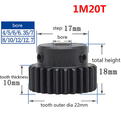 1 Mod 20T Spur Pinion Gear 45# Steel Motor Gears Bore 4/5/6/6.35/7/8/10/12mm