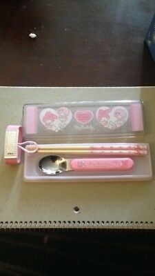 My Melody Pink Lunch Set with Chopsticks and Spoon Bento Sanrio