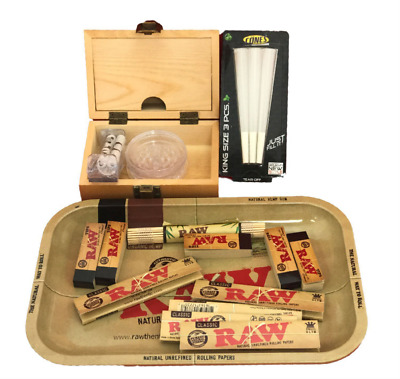 Shine Grassleaf Wooden Rolling Box With Raw Tray Gift Set Papers/Tips/Grinder