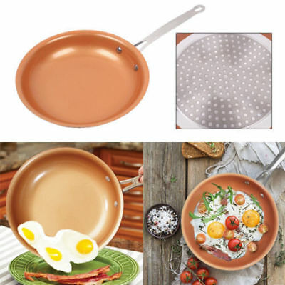 "10"" Non-stick Copper PRO Frying Pan With Ceramic Coating & Induction Cooking New"