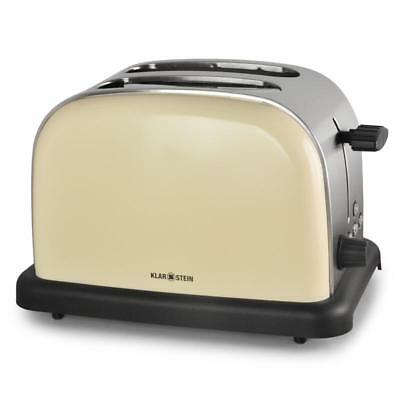 Retro Look Stainless Steel 2-Slice Toaster Cream Chrome Double Wide Slot Bagel
