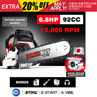 """NEW 92cc Petrol Commercial Chainsaw 20"""" Bar E-Start Chain Saw Pruning Japan"""