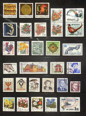 Good lot of used stamps from Sweden 1995,96,97