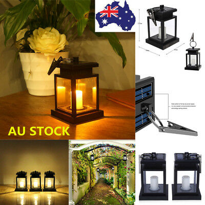1/2X Outdoor Solar Powered Warm White LED Candle Lantern Light Garden Wall Lamp