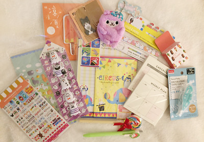 Cute Korean & Japanese Stationery Lot - Alpacas, Puff Stickers, Stationery Sets